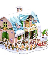 desenvolver habilidades de pensamento quebra-cabeça de natal diy papel-cabeça 3d - Christmas Cottage b368-3 (38pcs)