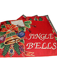 Set of 4 Jingle Bell Pattern Polyester Cotton Christmas Placemat