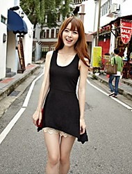 High Quality Lace-up Back Sleeveless Sundress Black