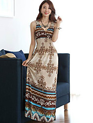 vestido de manga corta estampado floral v cuello de la mujer qsh