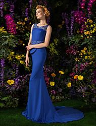 Formal Evening Dress - Royal Blue Plus Sizes / Petite Trumpet/Mermaid Jewel Court Train Jersey