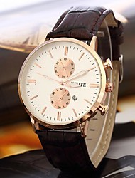Men's Casual Style Leather Band Quartz Dress Watch (Assorted Colors)