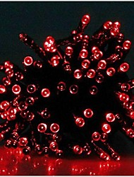 17M 100-LED Solar Powered Christmas Lights String Lamp Lndoor Outdoor Flashing Light Strip - Red