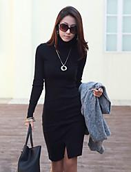 damesmode nieuwe Koreaanse slanke schildpad hals lange mouw ol dieptepunt jurk dieptepunt jurk