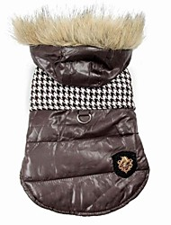 Cat / Dog Coat Black / Brown Dog Clothes Winter Houndstooth