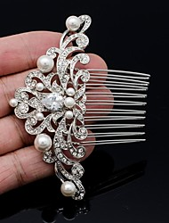 Women's Flower Girl's Rhinestone Alloy Imitation Pearl Cubic Zirconia Headpiece-Wedding Hair Combs