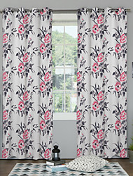 China Rose Pastoralism Room Darkening Curtain (Two Panels)