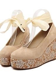 Damenschuhe runde Zehe Keilabsatz Pumpen mit Spitzen-up-Schuhe mehr Farben zur Verfügung