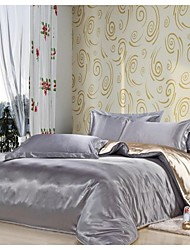Duvet Cover Set, Silver & Beige Silk Mixed Colors Hotel Supplies Duvet Cover Set 4 Pcs