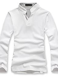 Men's Long Sleeve T-Shirt , Cotton Casual/Work Pure