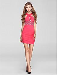 Cocktail Party Dress Sheath/Column Halter Short/Mini Knit