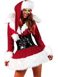 Women's Christmas Costume Long Sleeve Short Dress Set