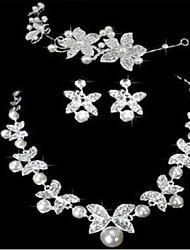 magnifiques belles fleurs aolly avec des ensembles de bijoux strass et perle d'imitation de mariage / partie