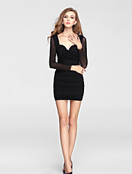 Homecoming Cocktail Party Dress - Black Sheath/Column Halter Short/Mini Knit