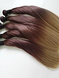 ombre des brasilianischen reinen Haares 5pcs 20-Zoll-Klasse 5a brasilianischen Menschenhaars silk gerade Haarverlängerung / weben (4 # / 27 #)
