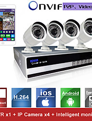 sinocam® 4ch nvr en 720p p2p ip camera beveiligingssysteem kit ondersteuning video push