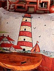 lençóis de algodão natal padrão farol jacquard decorativo travesseiro cobre para a cintura