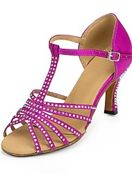 Non Customizable Women's Dance Shoes Latin Satin Stiletto Heel Blue/Purple