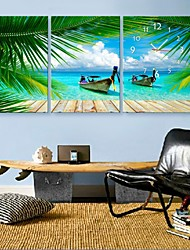 e-FOYER coastl d'été horloge dans 3pcs toile