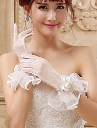 Wrist Length Fingertips Glove Tulle Bridal Gloves