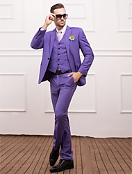 Lavender Polyester Slim Fit Three-Piece Suit