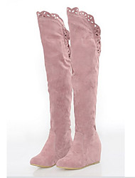Plus Size European Style Lace Back Elastic Long Boots Pink