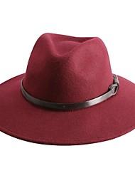 Элегантный шерстяной дамы партия / открытый / случайный шляпа с коричневый пояс (больше цветов)
