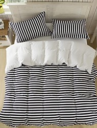 Mingjie  Lines Black Sanding Bedding Sets 4pcs Duvet Cover Sets Bed Linen China Queen Size and Full Size