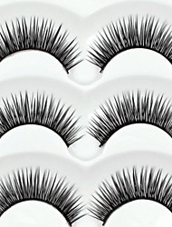 New 3 Pairs European Stlye Natural Black Long Thick False Eyelashes Eyelash Eye Lashes for Eye Extensions
