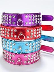 Cat / Dog Collar Reflective / Rhinestone Red / Black / Purple / Rose PU Leather