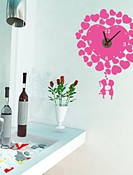 Wall Clock Stickers Wall Decals, Romantic Couple PVC Wall Stickers