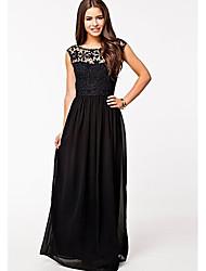 Miaoling Frauen sexy rückenfrei ausschneiden langen Kleid