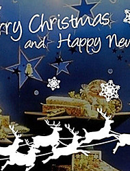 """Merry Christmas Elks And Sled Window Sticker - 39.4""""W × 78.7""""L"""