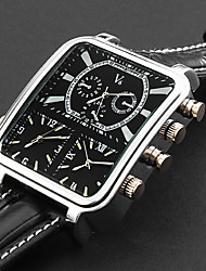 Personalized Fashionable Argus Panoptes - Men's Watch Military Triple-Movement Square Dial Leather Strap