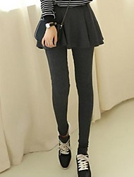 Women's Casual Warm Thicken False Two Pieces Leggings with Skirt