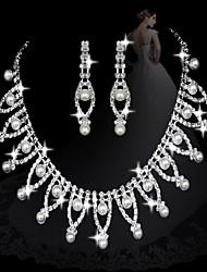 moda pérola com diamantes conjuntos das mulheres charme: colar e brincos (venda de ações; julgamento: 3)