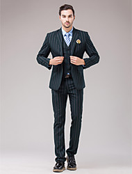 Dark Navy Polyester Slim Fit Three-Piece Suit