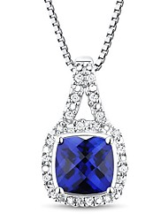 Women's Classic Sterling Silver Created Saphire and Diamond Necklace