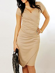 Women's V-neck Fitted Dress