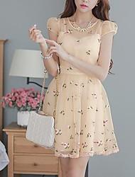 DABUWAWA Women's Organza Lace Short Sleeve Dress