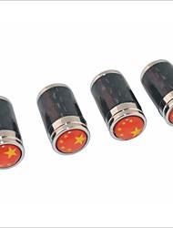 fibra de carbono DIY Teste padrão chinês do pavilhão de pneus universal tampas das válvulas de ar - preto (4pcs)