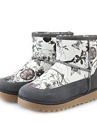 botas de invierno étnicas de flores niña de patrones de las mujeres bajas cómodas térmicas