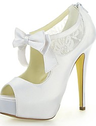 Women's Shoes Satin / Lace Summer Heels / Peep Toe / Platform Wedding Stiletto Heel Satin Flower / Zipper Ivory / White / Champagne