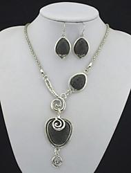 toonykelly olhar da antiguidade do vintage de prata pedra vulcão lava rocha (colar e brinco) Conjunto de jóias