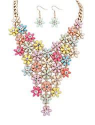 z&X® moda colar e brincos de conjunto de jóias (1 jogo, 4 cores opções: rosa, preto, branco, multicolor)