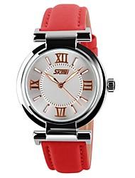 Женские Модные часы Кварцевый Японский кварц Кожа Группа Люкс Черный Белый Синий Красный Розовый