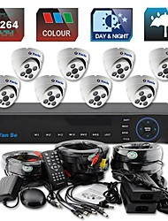 yanse® d1 8 canales DVR Kit color de cúpula sistema de cámaras de seguridad de la cámara del CCTV del IR 705cc08