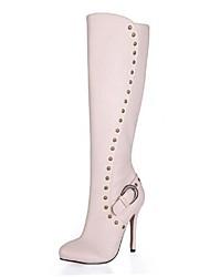 altas botas de los zapatos de las mujeres de aguja punta redonda de la rodilla del talón con el remache