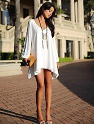 European Style V-Neck Long Sleeve Chiffon Dress