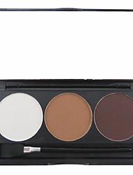 3 couleurs 3in1 mat sourcil professionnel poudre / ombre à paupières / Palette de maquillage cosmétique de bronzage avec miroir&ensemble